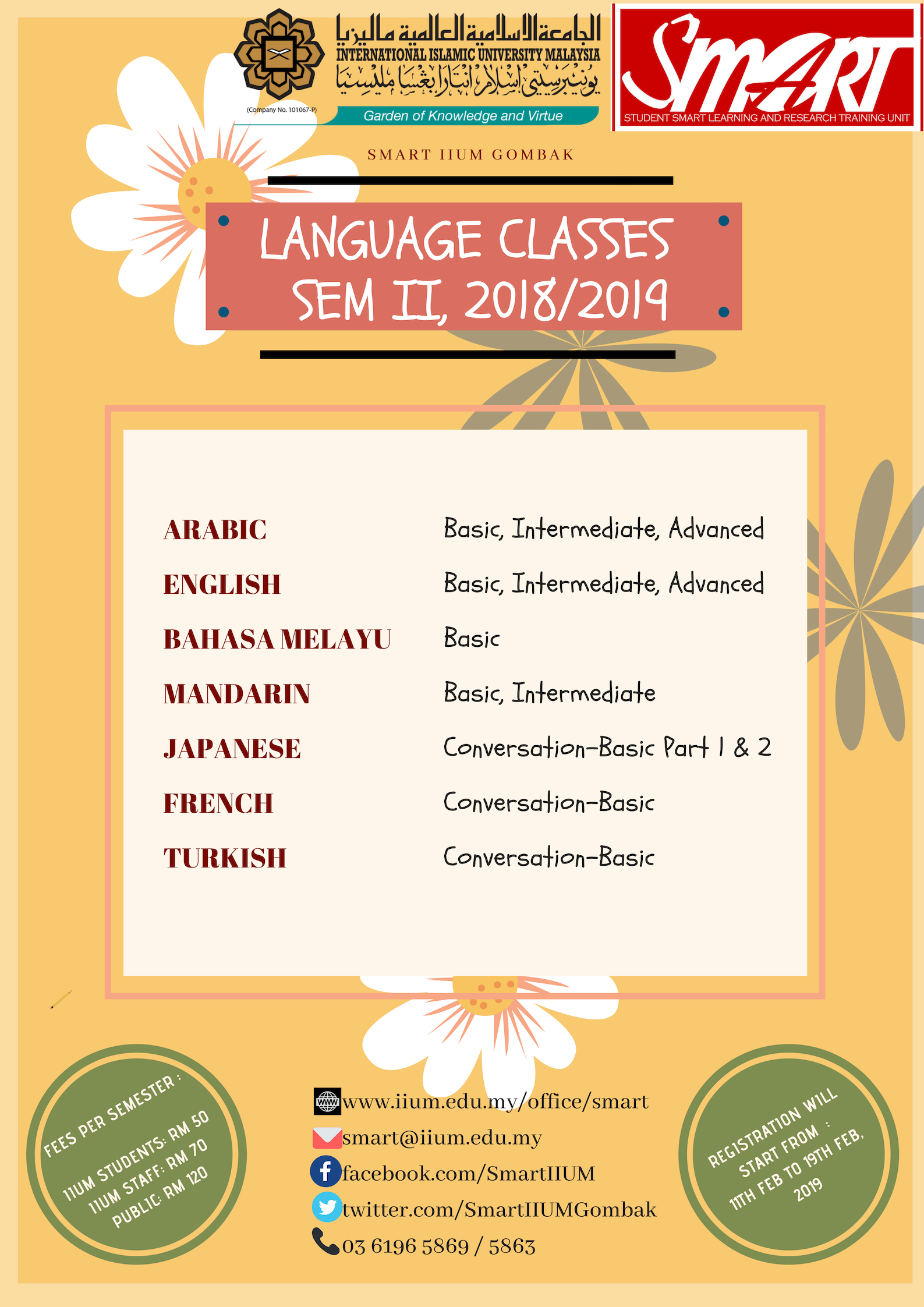 REGISTER FOR LANGUAGE CLASSES, SEM 2, 2018/2019