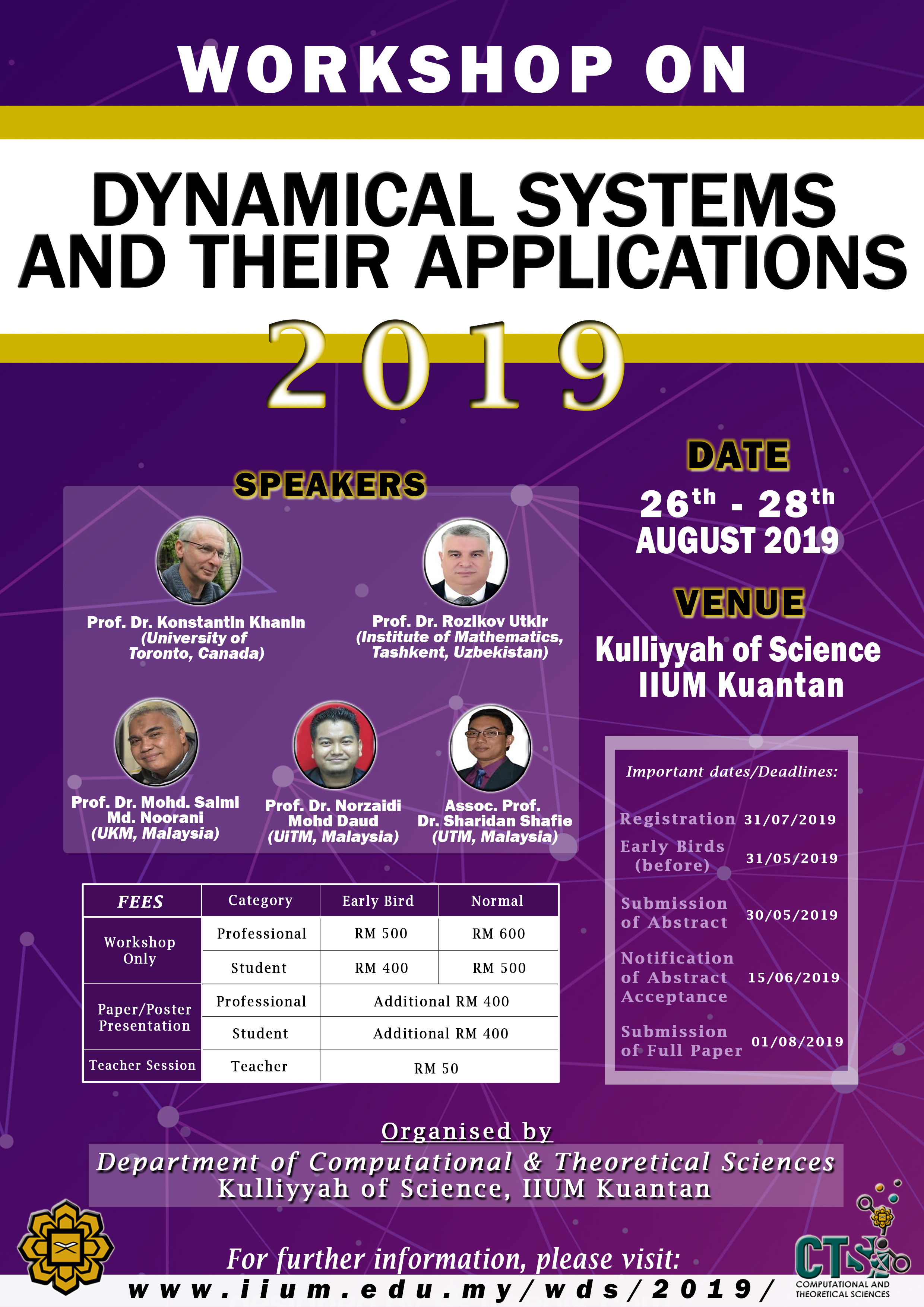 THE WORKSHOP ON DYNAMICAL SYSTEMS AND THEIR APPLICATIONS 2019 (WDS 2019)