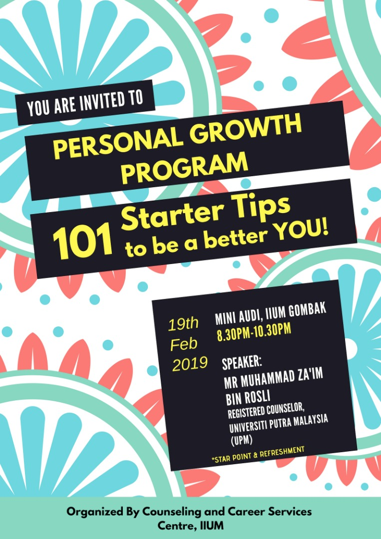 PERSONAL GROWTH PROGRAM : 101 STARTER TIPS TO BE A BETTER YOU!