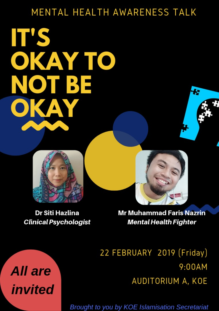 "Invitation for Mental Health Talk entitled ""It's okay to be not okay"""