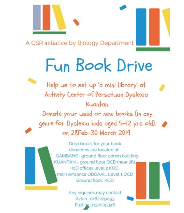 Fun Book Drive for Mini Library at Activity Center Persatuan Dyslexia Malaysia Kuantan