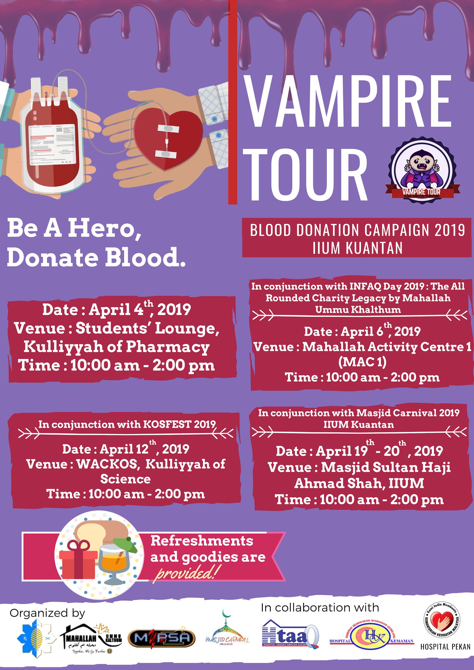 Vampire Tour: Blood Donation Programme 2019