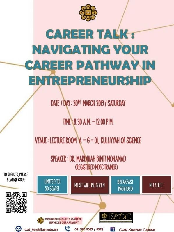 Career Talk: Navigating Your Career Pathway in Entrepreneurship