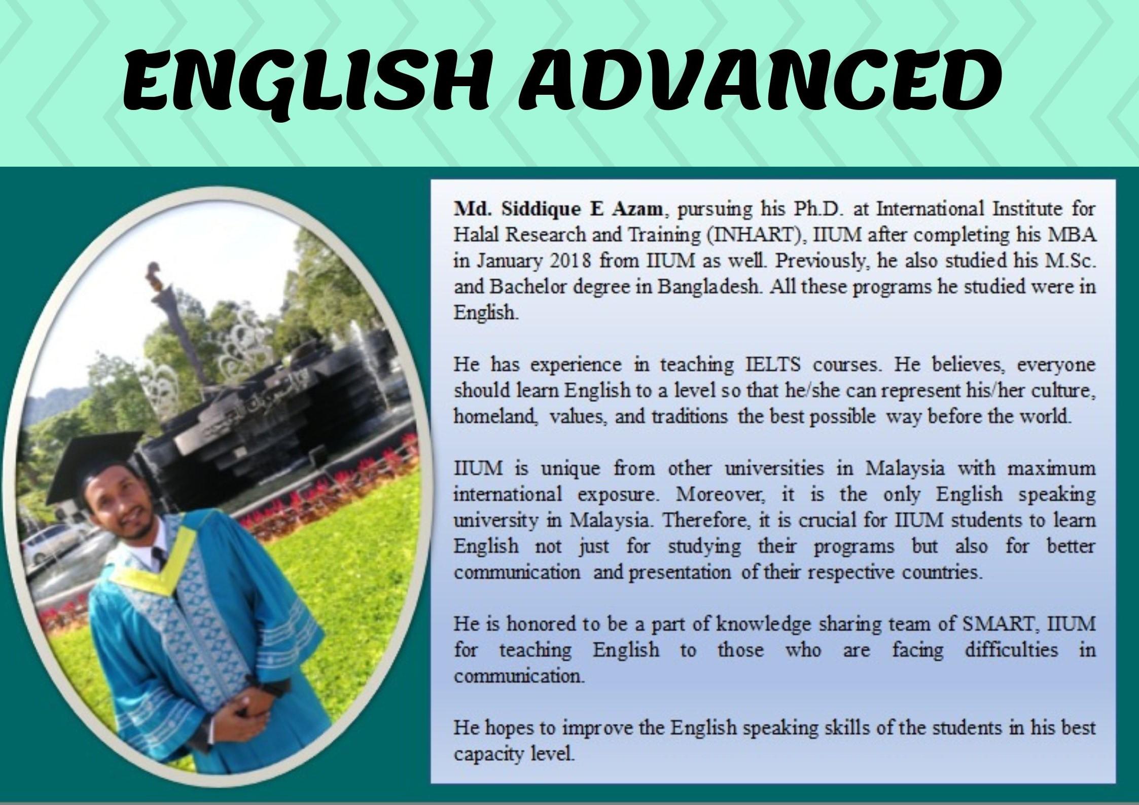 TUTOR PROFILE SEM 3, 2018/2019 : ENGLISH ADVANCED