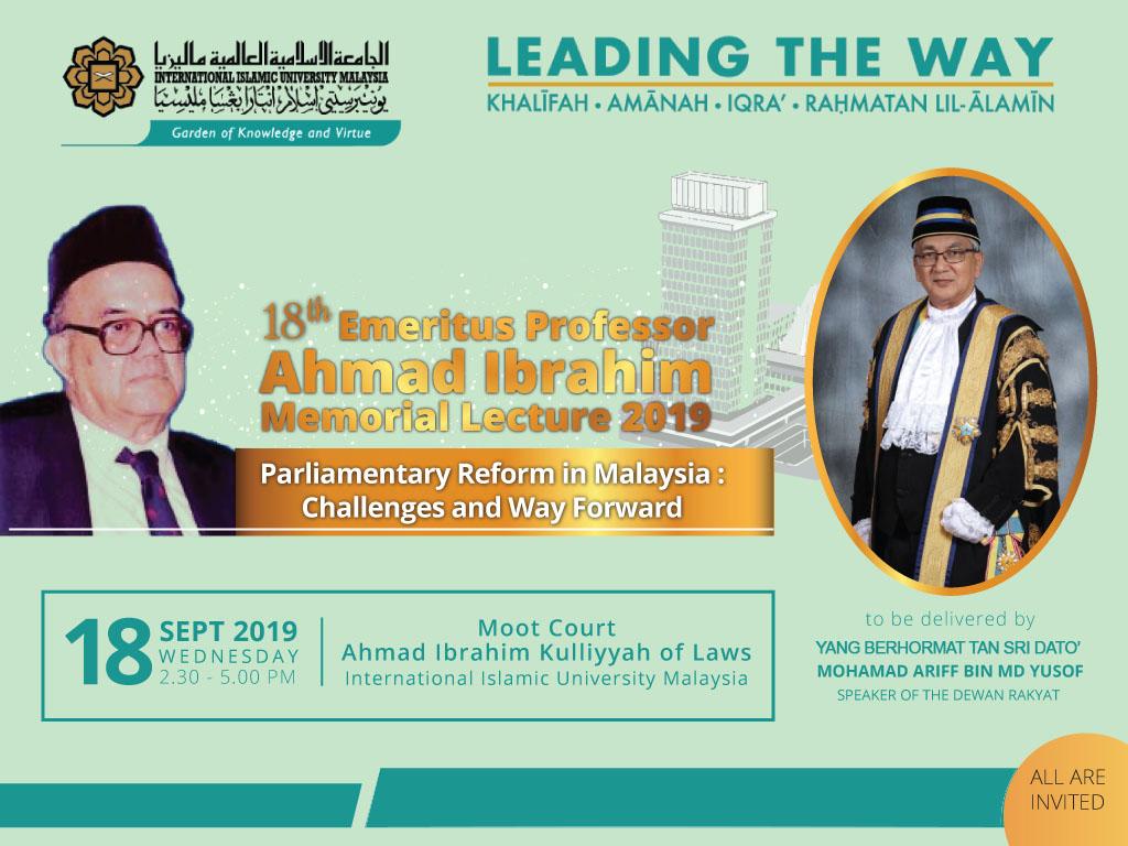 18th Emeritus Professor Ahmad Ibrahim Memorial Lecture 2019