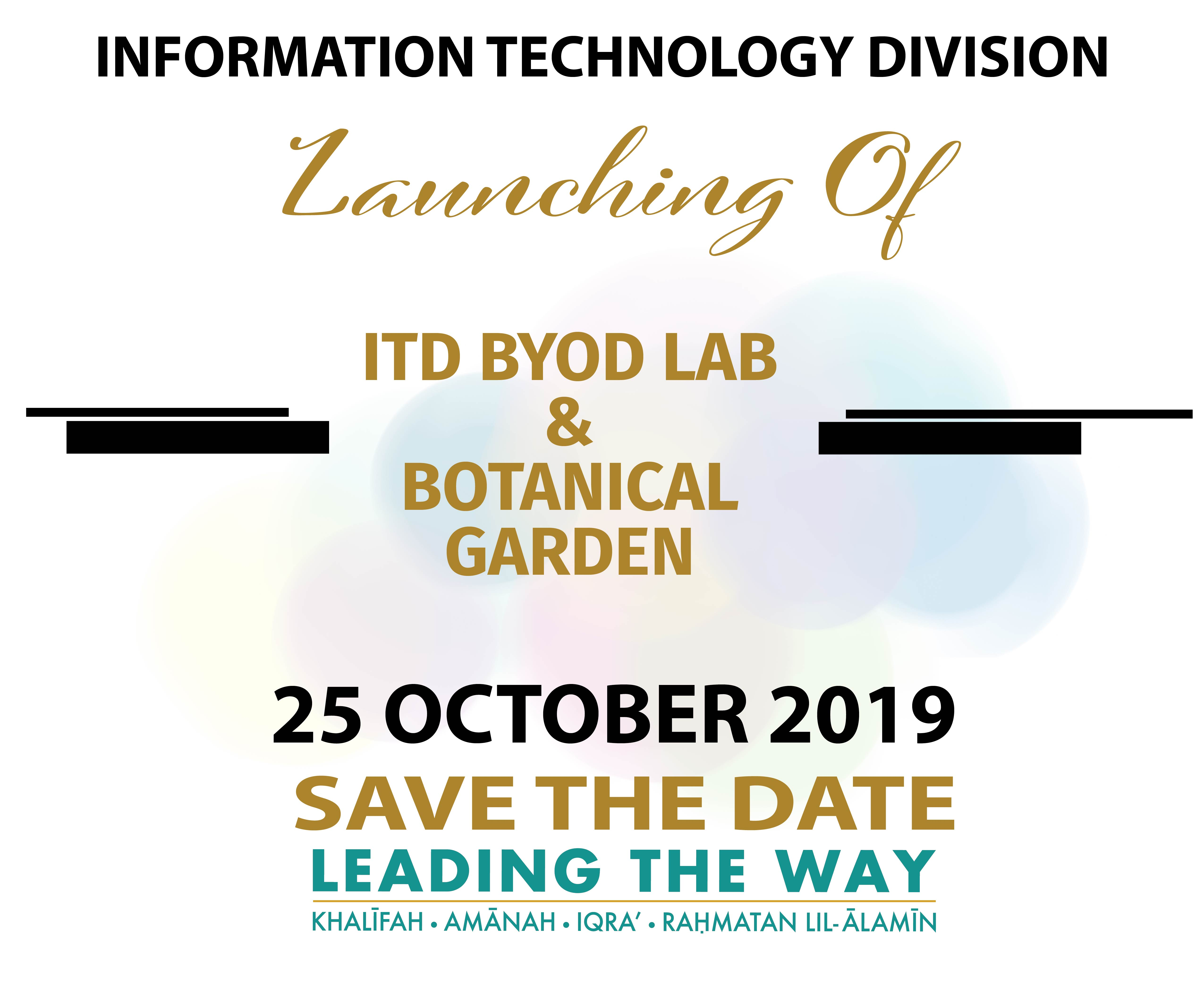 LAUNCHING OF ITD BYOD LAB & BOTANICAL GARDEN