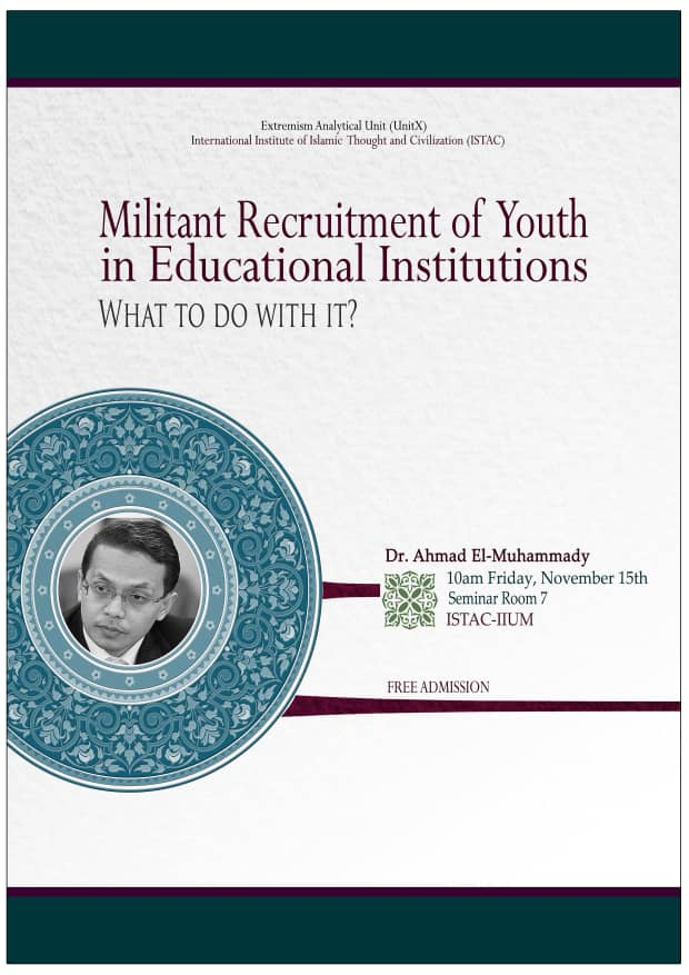 TALK ON MILITANT RECRUITMENT OF YOUTH IN EDUCATION INSTITUTION: WHAT TO DO WITH IT?