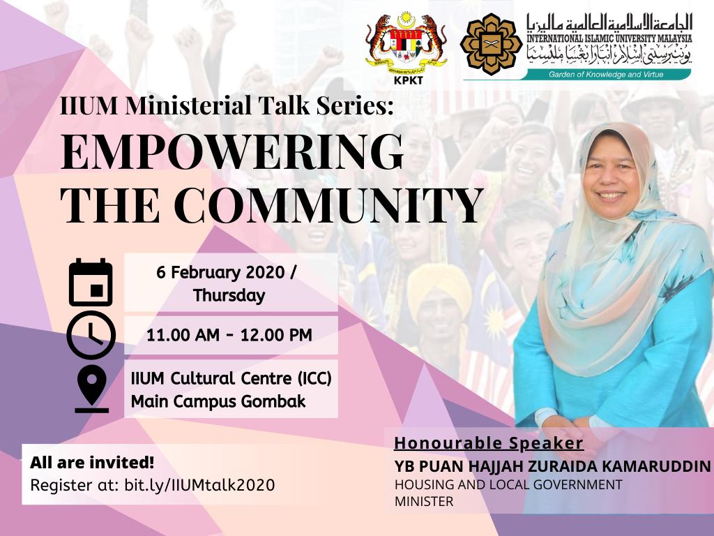IIUM Ministerial Talk Series :  Empowering the Community
