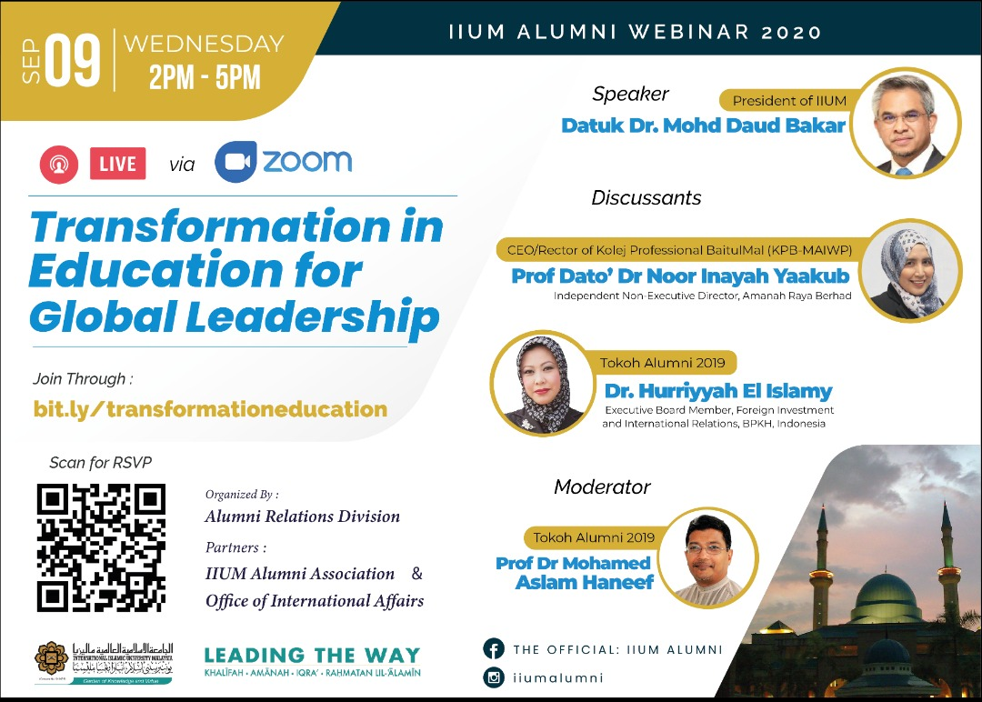 IIUM Alumni Webinar 2020:  Transformation in Education for Global Leadership