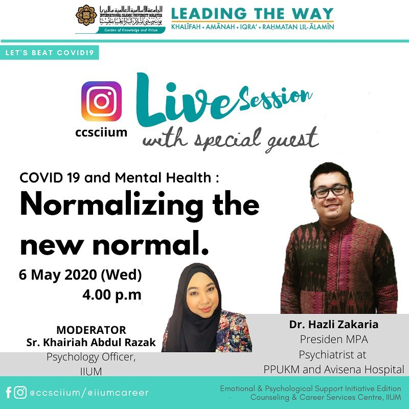 Instagram Live Session with Special Guest - COVID 19 and Mental Health: Normalizing the New Normal