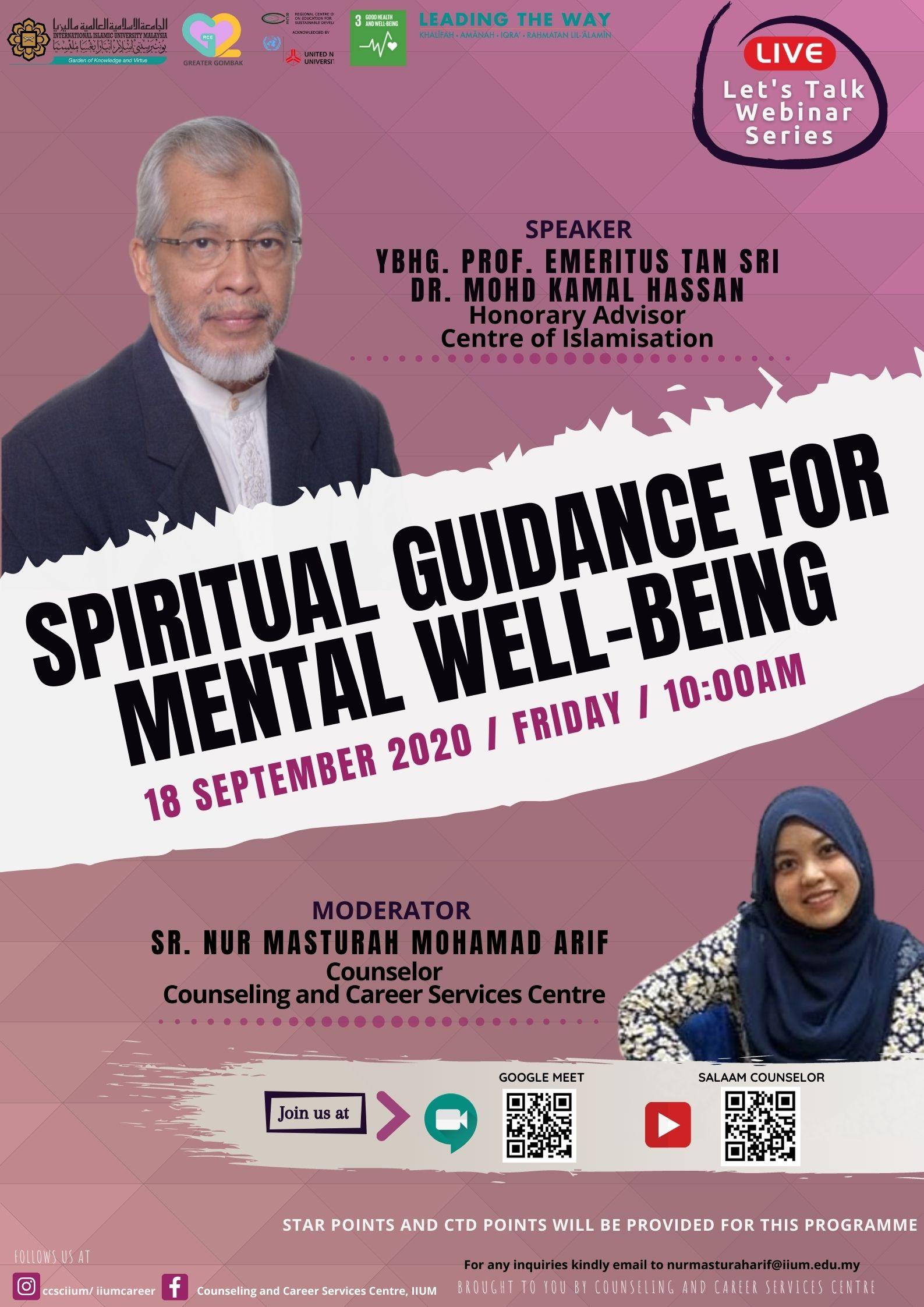 LET'S TALK WEBINAR SERIES : SPIRITUAL GUIDANCE FOR MENTAL WELL-BEING