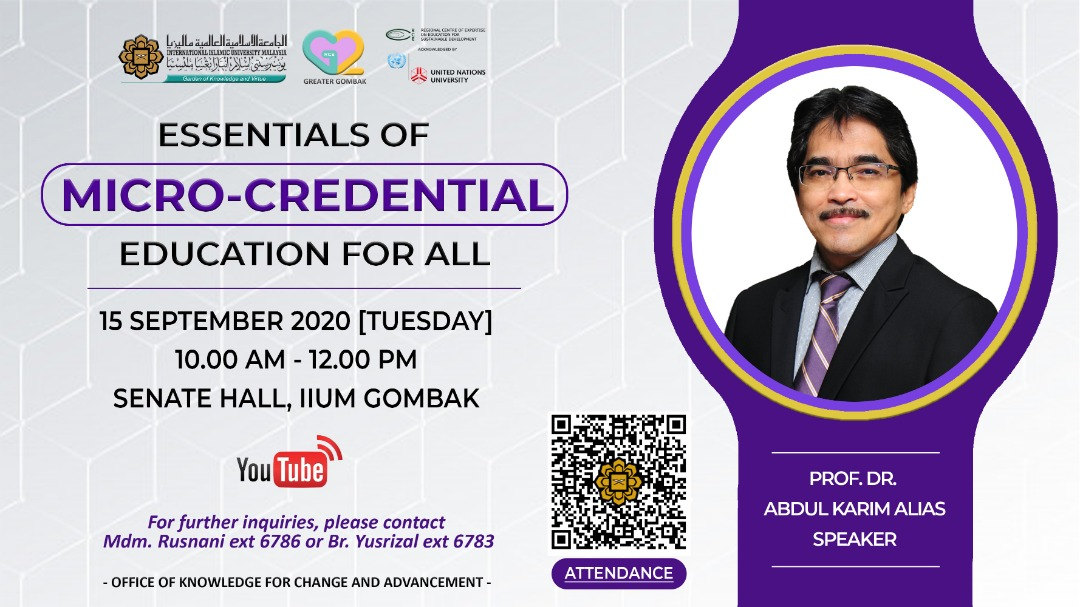 Sharing Session on Micro-credential: USM Experience by Prof. Dr. Abdul Karim Alias, Director CDAE, USM