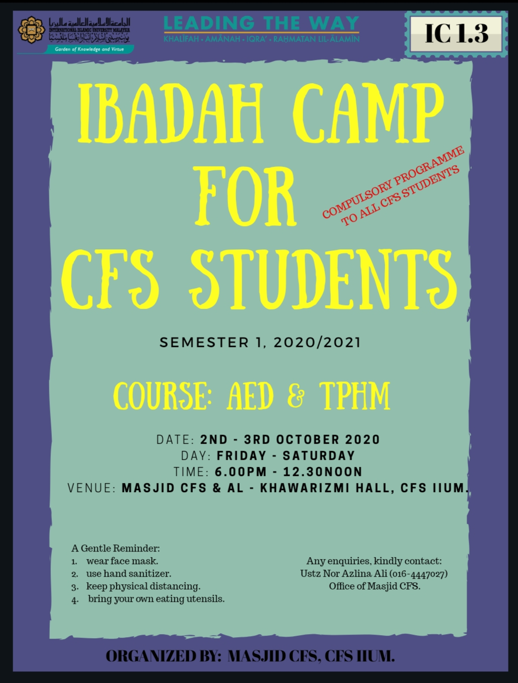 IBADAH CAMP FOR CFS STUDENT