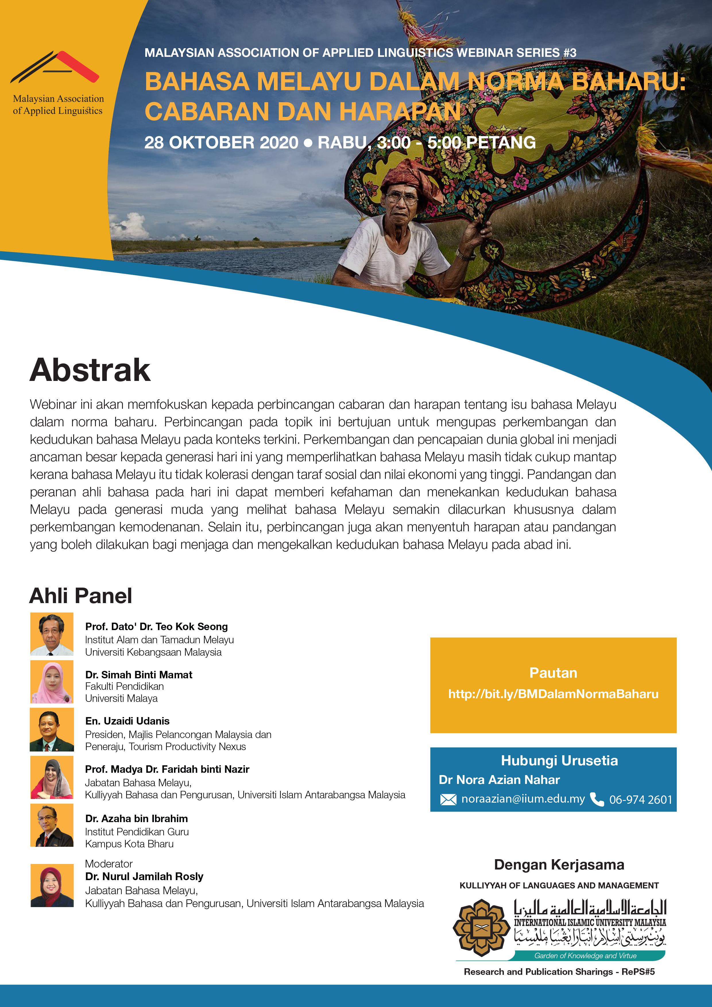 MALAYSIAN ASSOCIATION OF APPLIED LINGUISTICS (MAAL) WEBINAR #3
