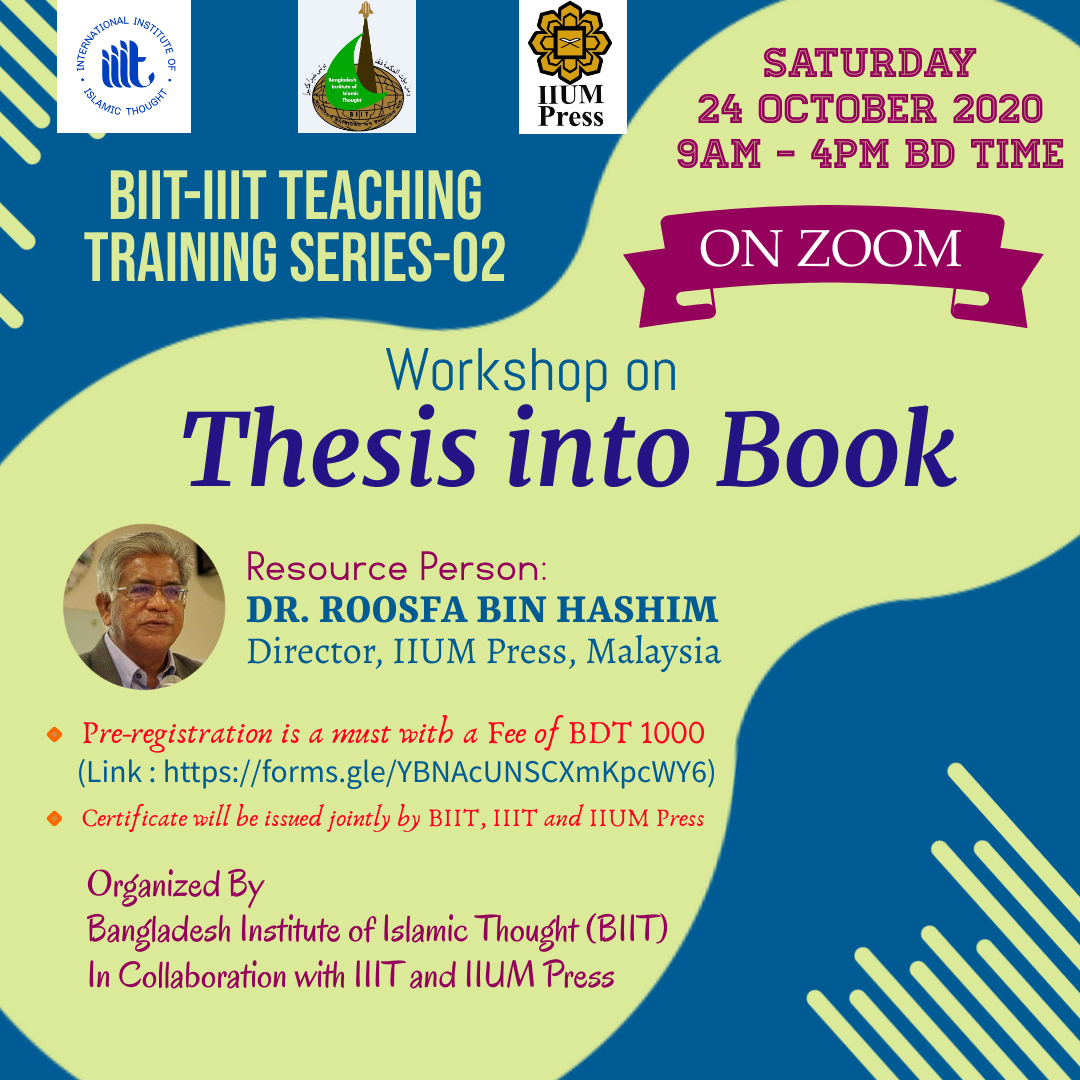 ONLINE WORKSHOP ON THESIS INTO BOOK