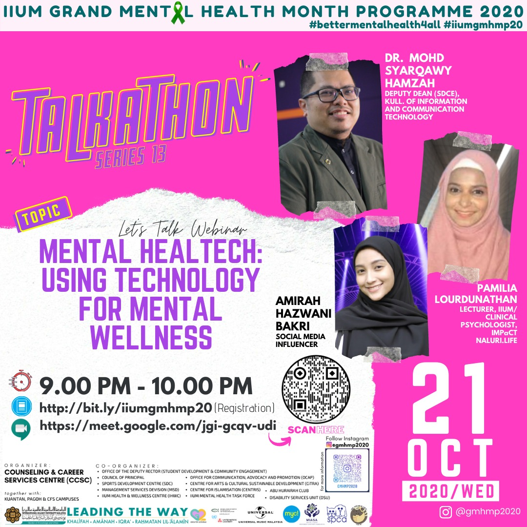 GMHMP 2020:  TALKATHON 13 - LET'S TALK WEBINAR: MENTAL HEALTHTECH: USING TECHNOLOGY FOR MENTAL WELLNESS