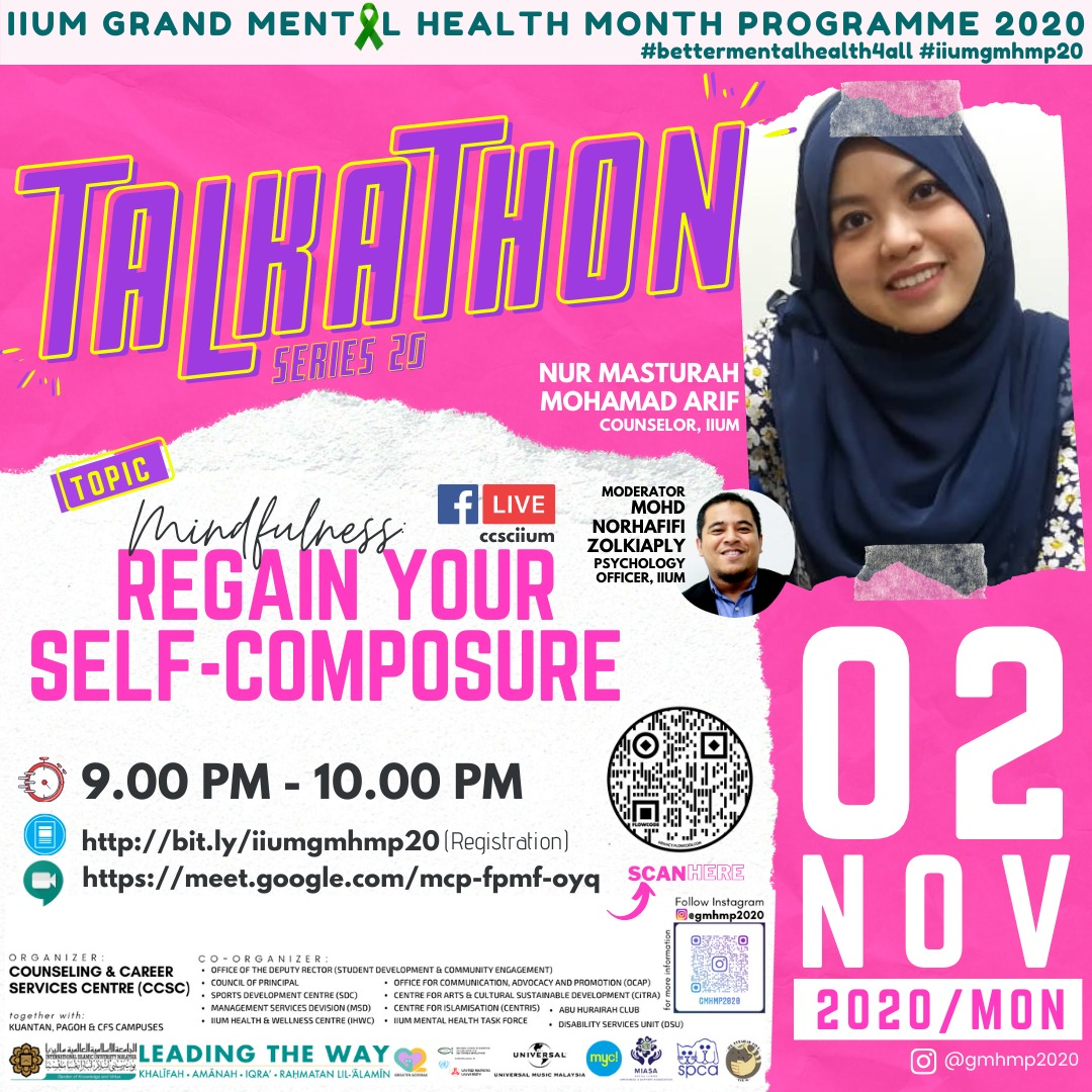 GMHMP 2020:  TALKATHON 20 -  MINDFULNESS: REGAIN YOUR SELF-COMPOSURE