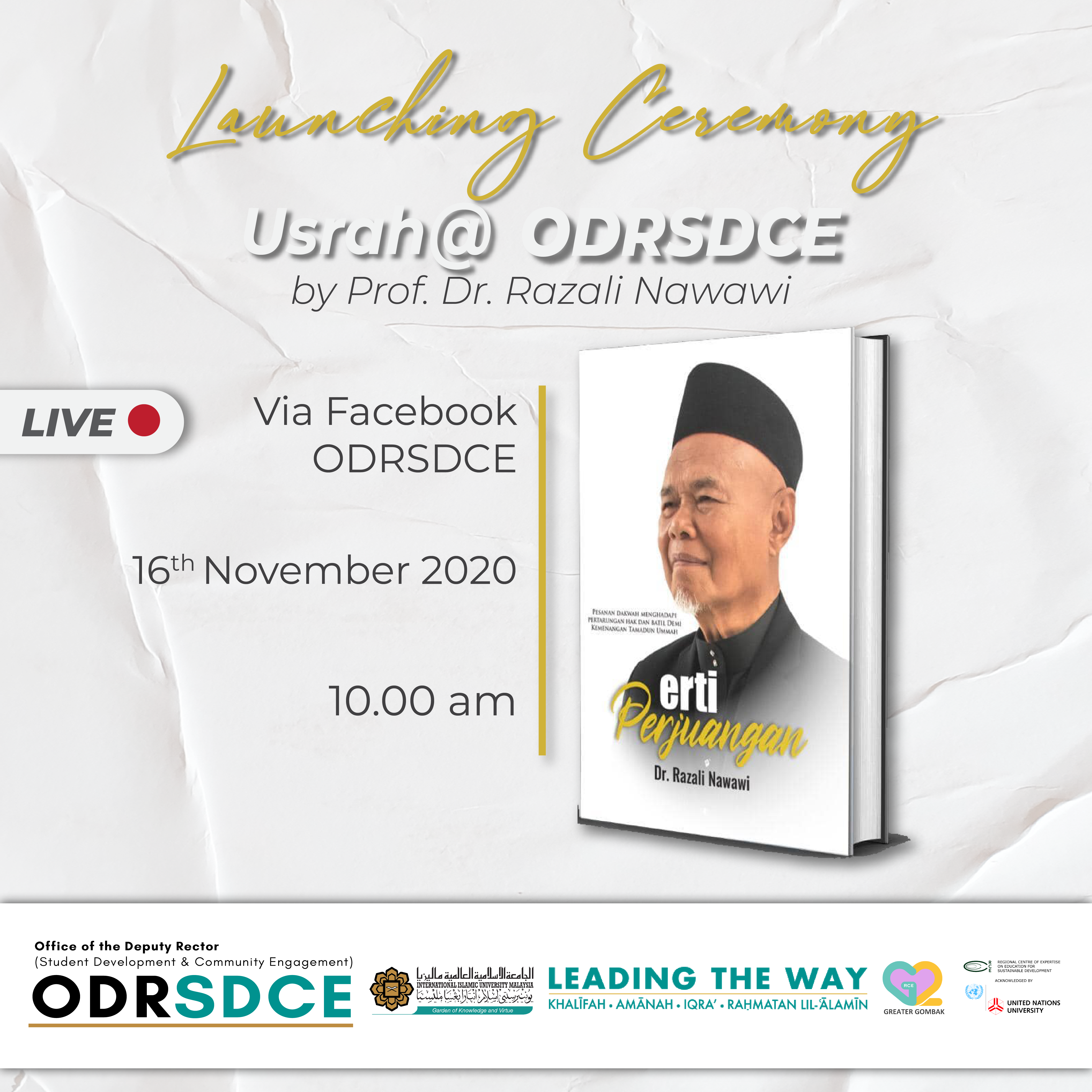 INVITATION TO PARTICIPATE LAUNCHING CEREMONY OF USRAH @ ODRSDCE