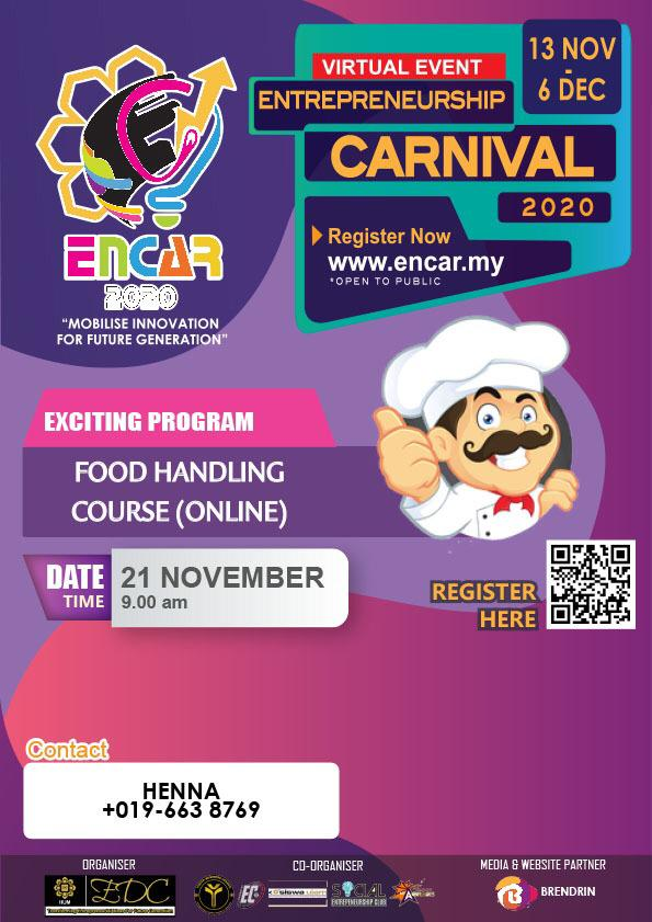 ENCAR 2020: Food Handling Course (Online)