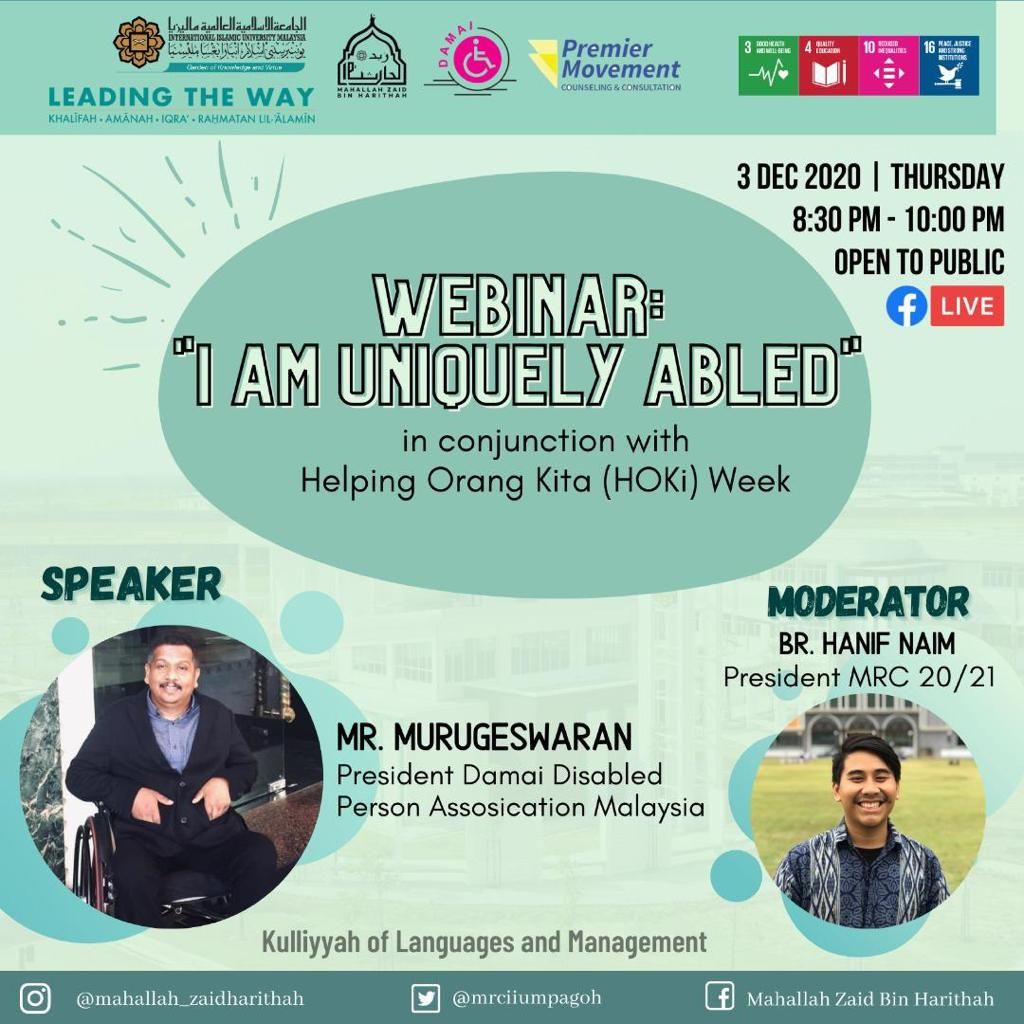 "Webinar : ""I am uniquely abled"""