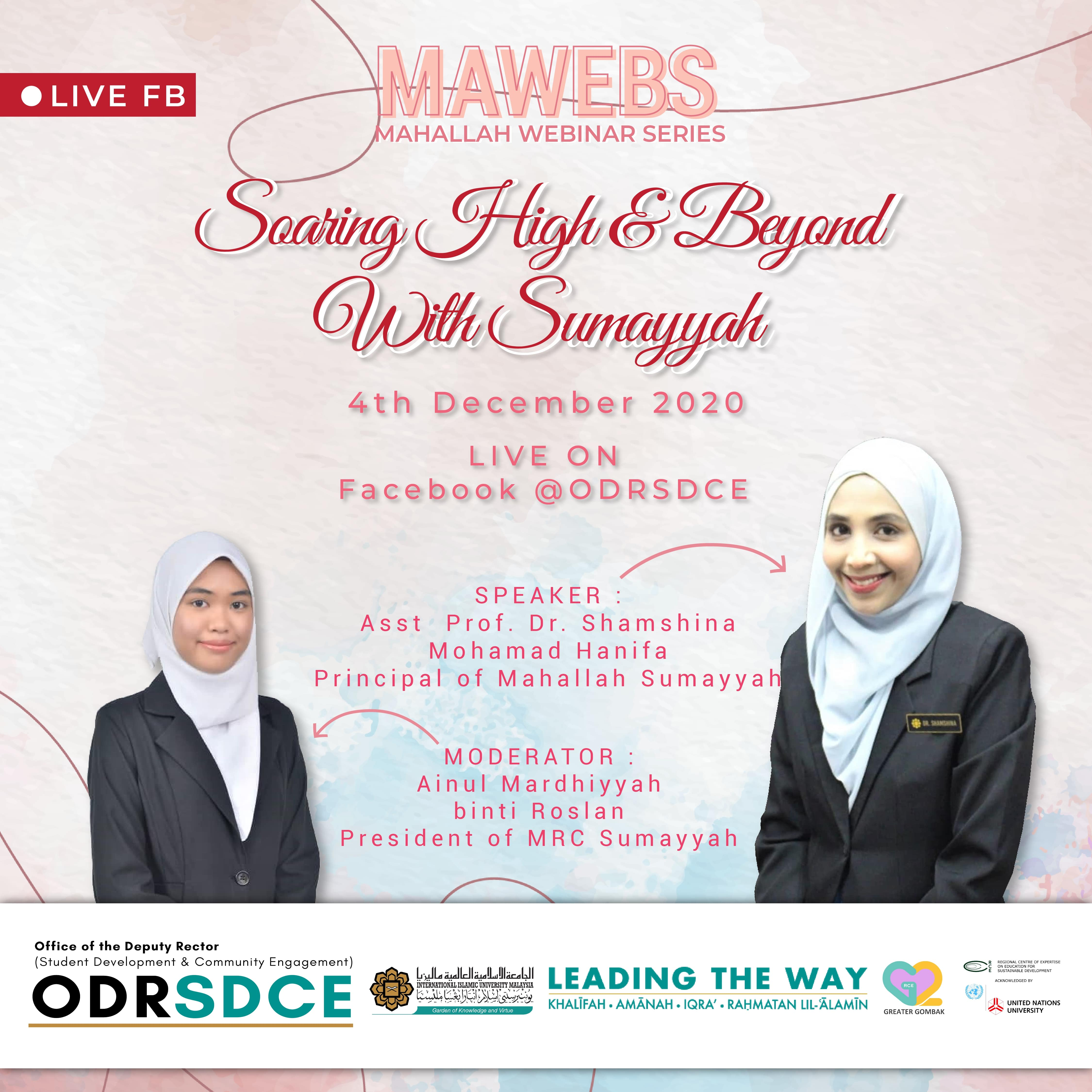 INVITATION TO PARTICIPATE IN MAHALLAH WEBINAR SERIES (MAWEBS) - SOARING HIGH AND BEYOND WITH SUMAYYAH