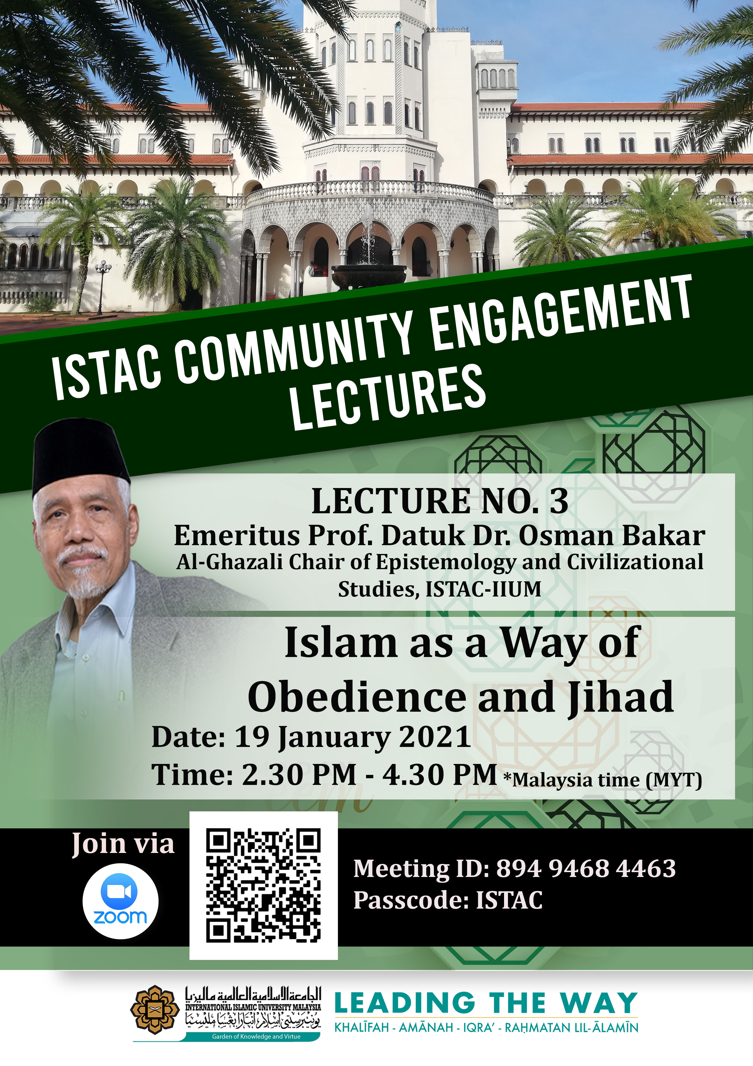 ISTAC COMMUNITY ENGAGEMENT LECTURES - LECTURE NO. 3