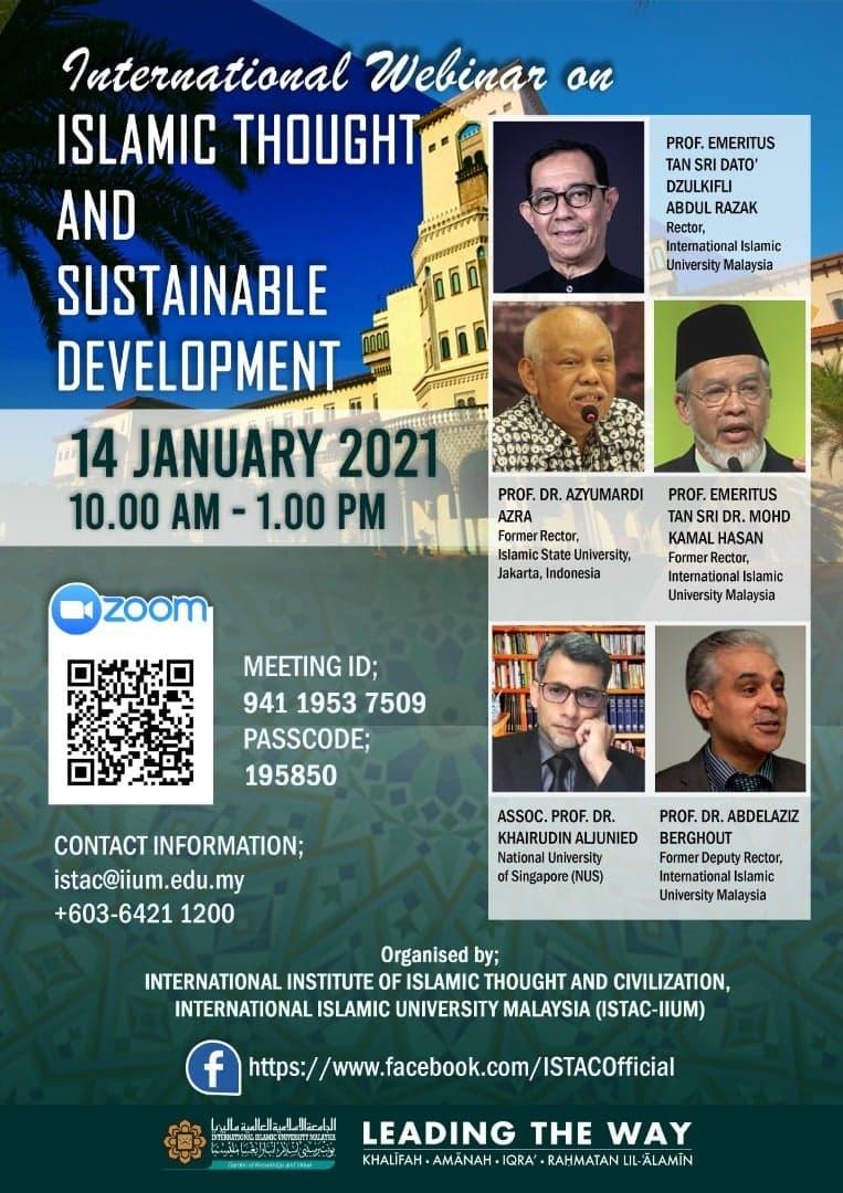 International webinar on ISLAMIC THOUGHT AND SUSTAINABLE DEVELOPMENT