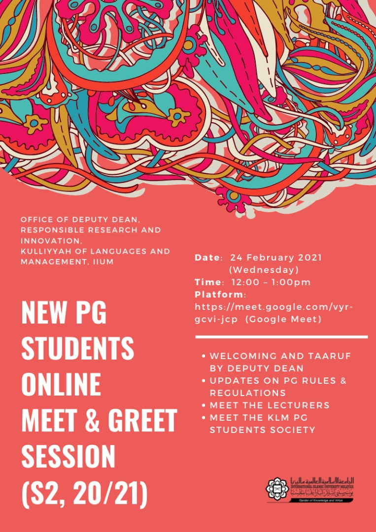 New PG Studentns Online meet & greet session Semester 2, 2020/2021