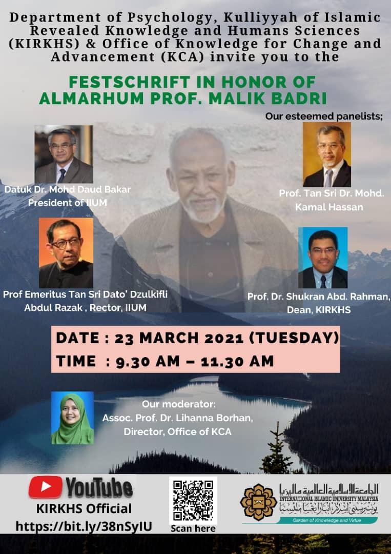 Festschrift in Honour of Almarhum Prof. Malik Badri