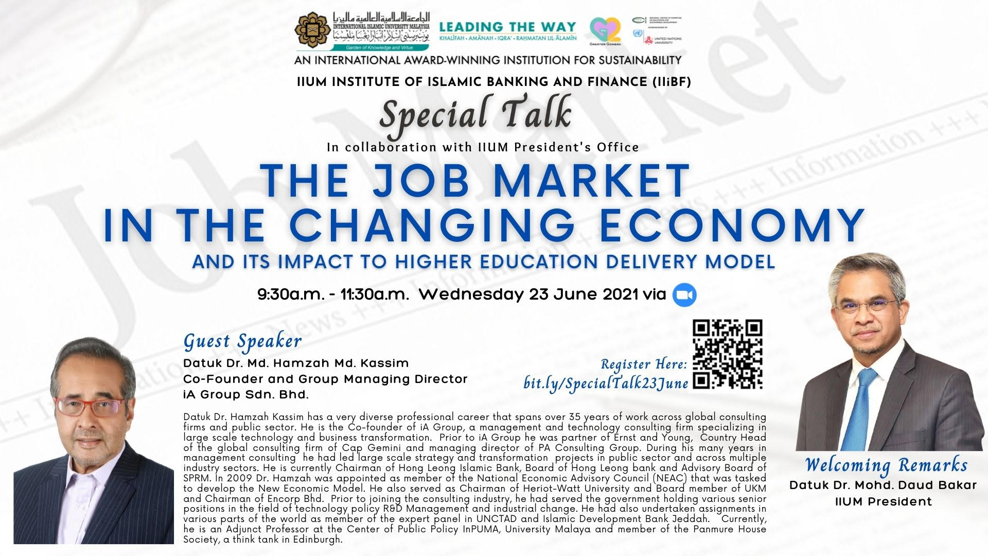 """SPECIAL TALK :- """"The Job Market in the Changing Economy and Its Impact to Higher Education Delivery Model"""""""