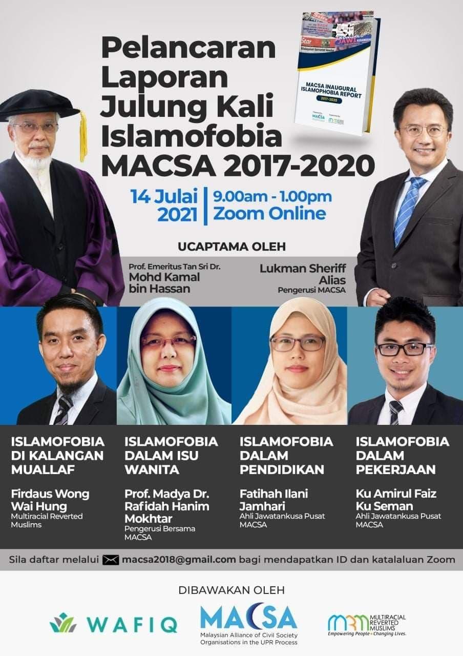 Pelancaran Laporan Julung kali Islamofobia MACSA 2017-2020