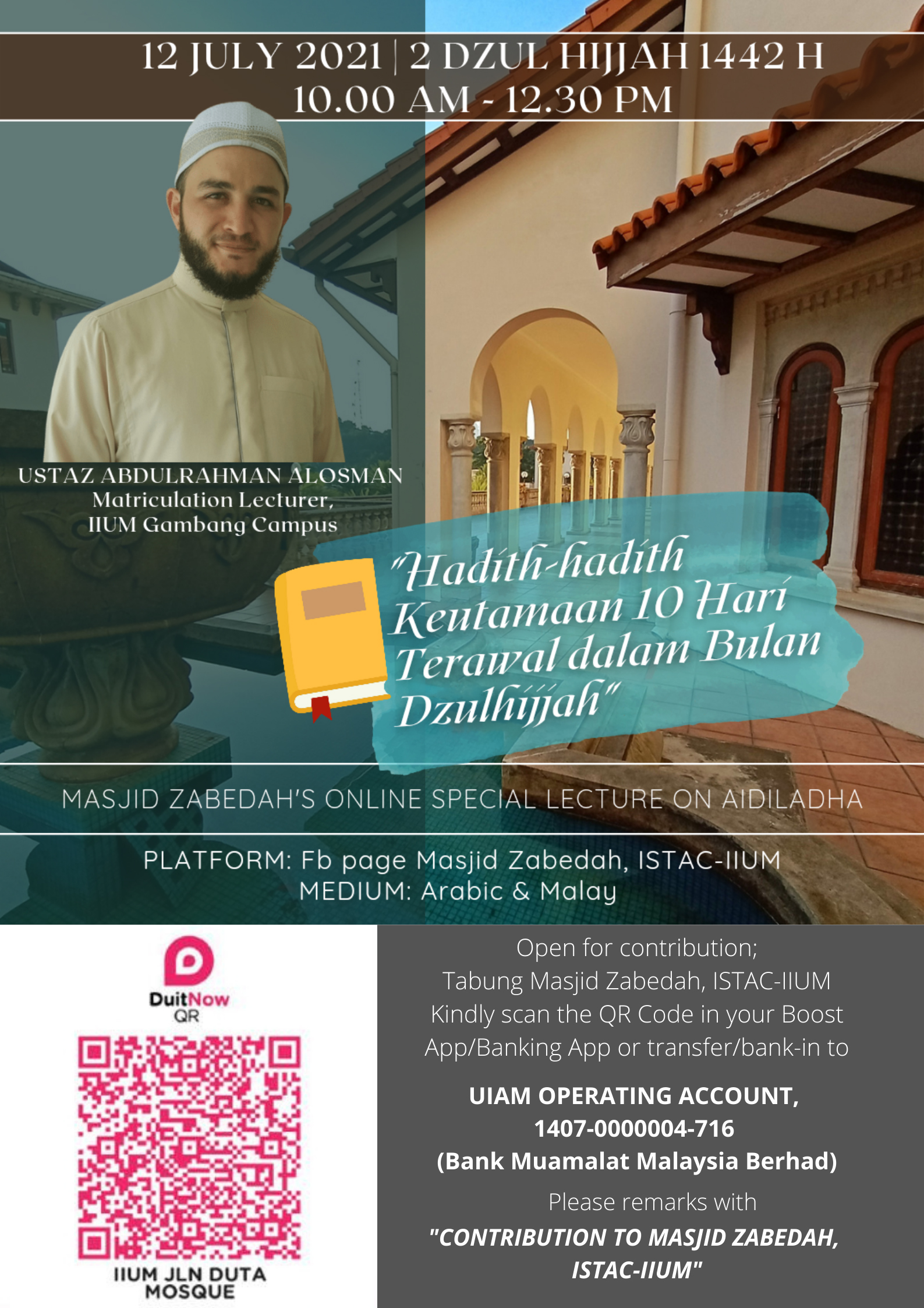 ONLINE SPECIAL LECTURE ON 'AID AL-ADHA