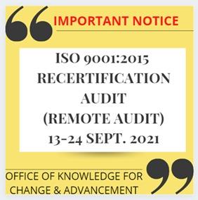 ISO 9001:2015 Internal Audit 2021 (Remote Audit)