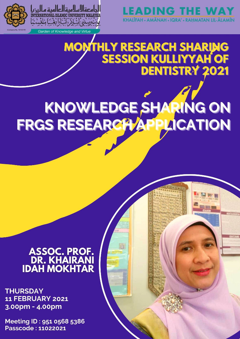 Knowledge Sharing Session on FRGS Research Application