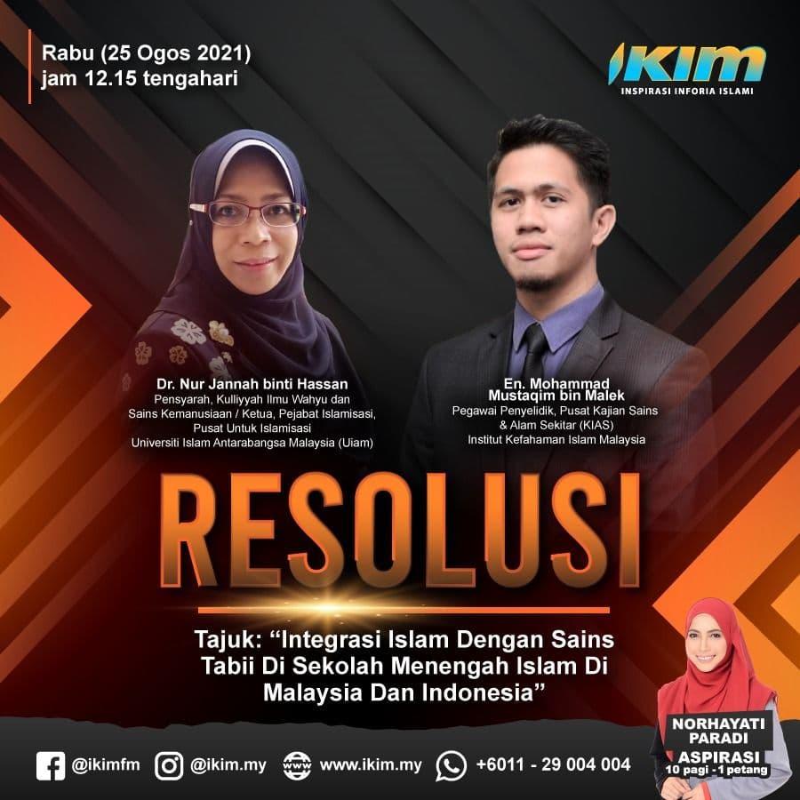 """Tajuk:""""Integrasi Islam Dengan Sains Tabii Di Sekolah Menengah Islam Di Malaysia Dan Indonesia"""""""