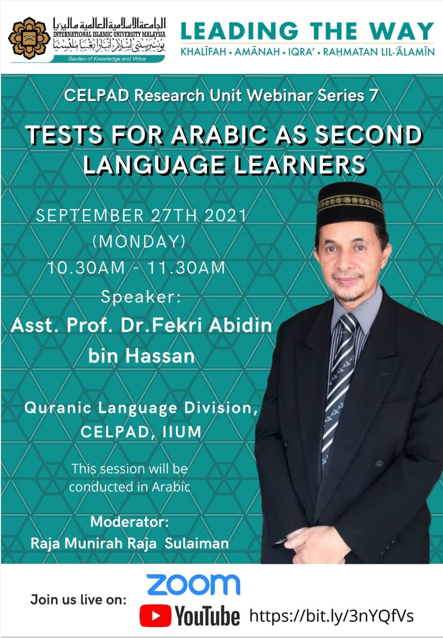 CELPAD Research Unit Webinar Series #7: Tests for Arabic as Second Language Learners