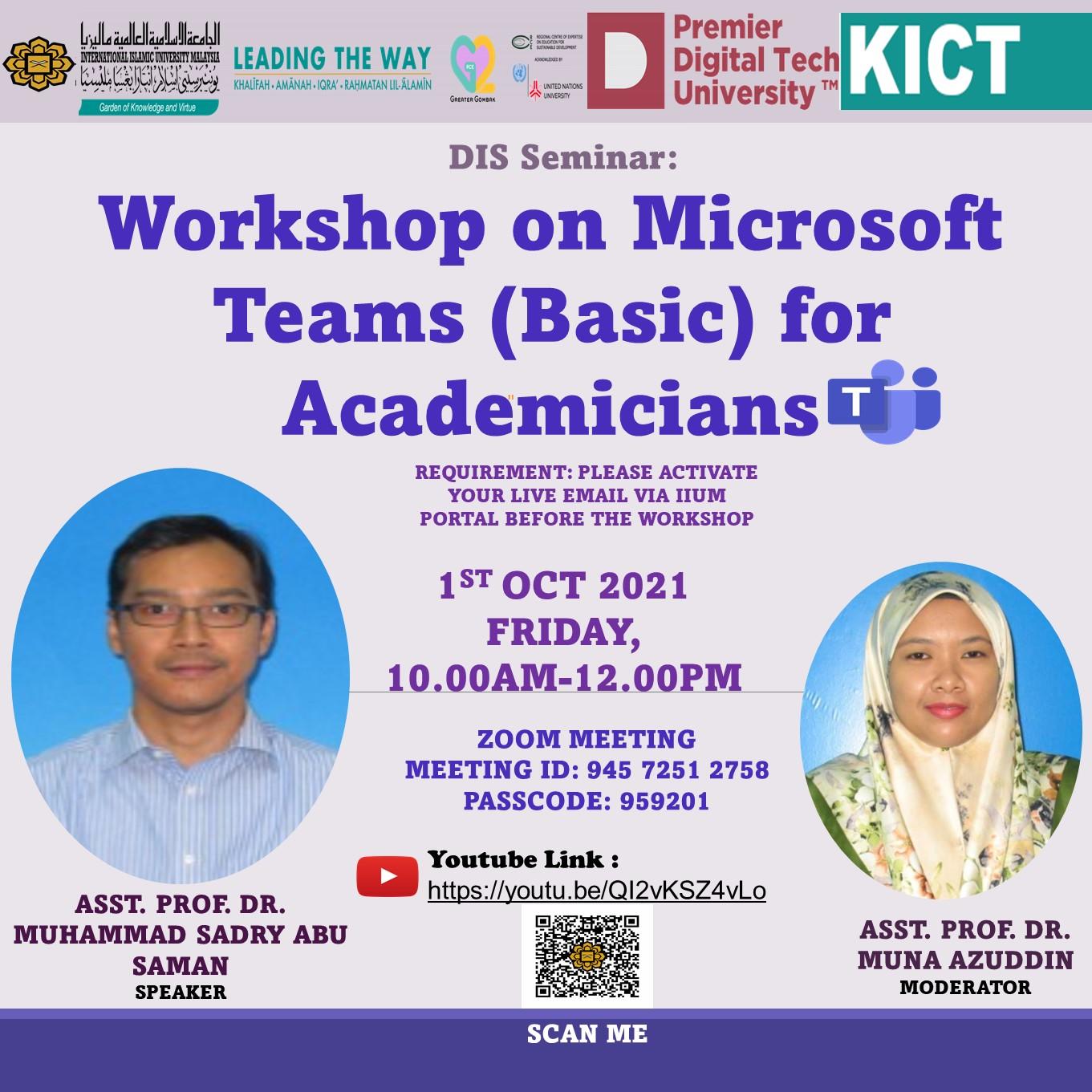 Workshop on Microsoft Teams (Basic) for Academicians