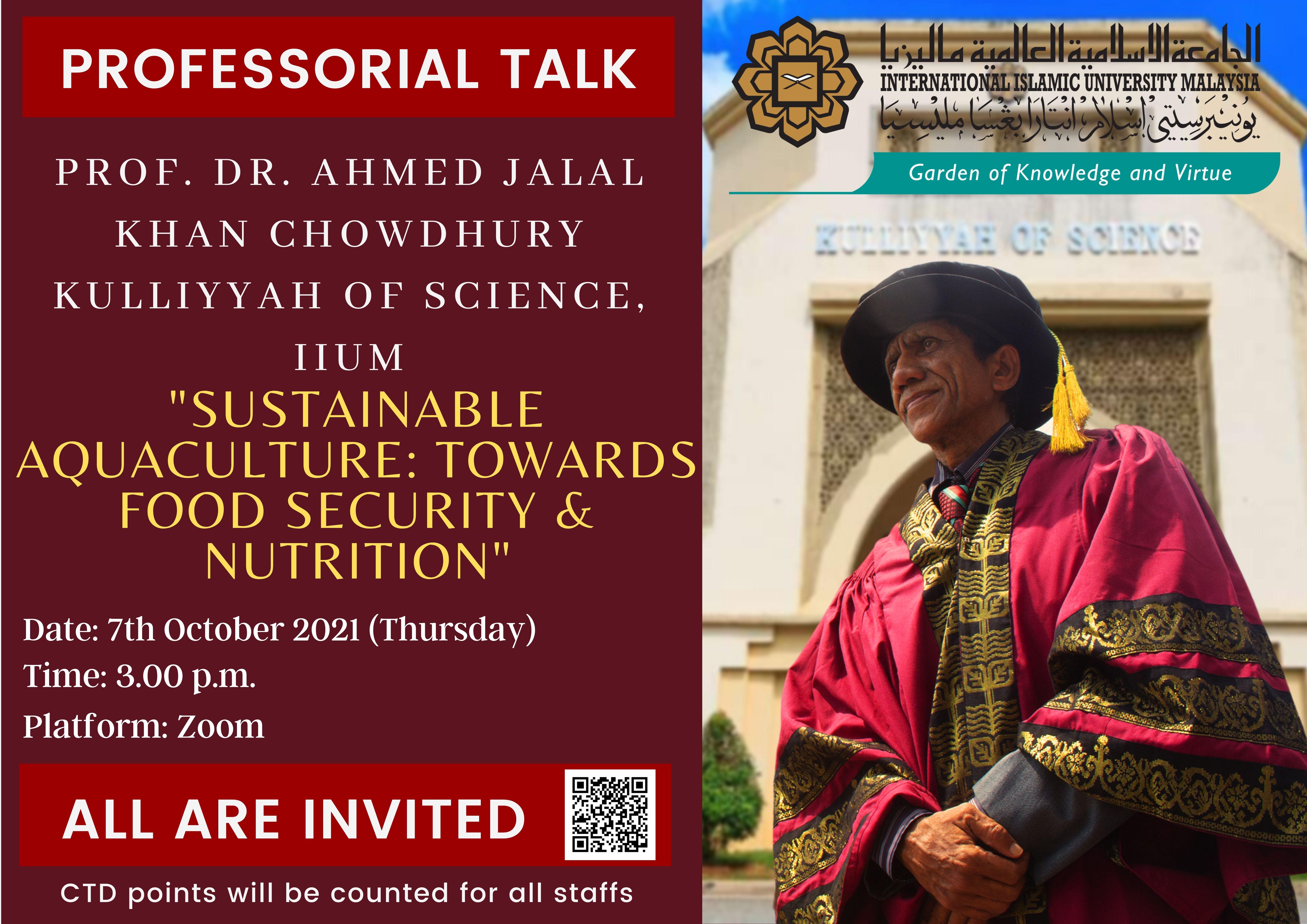 PROFESSORIAL TALK BY PROF. DR. AHMED JALAL KHAN CHOWDHURY