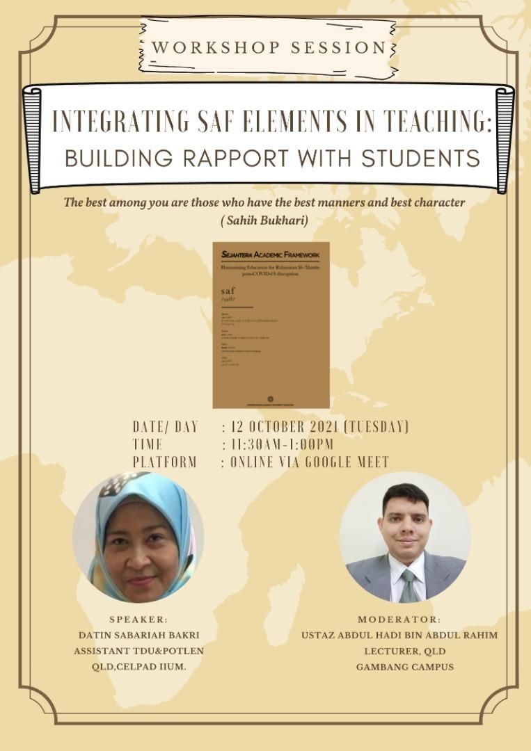 TDU Workshop: Integrating SAF Elements in Teaching: Building Rapport with Students