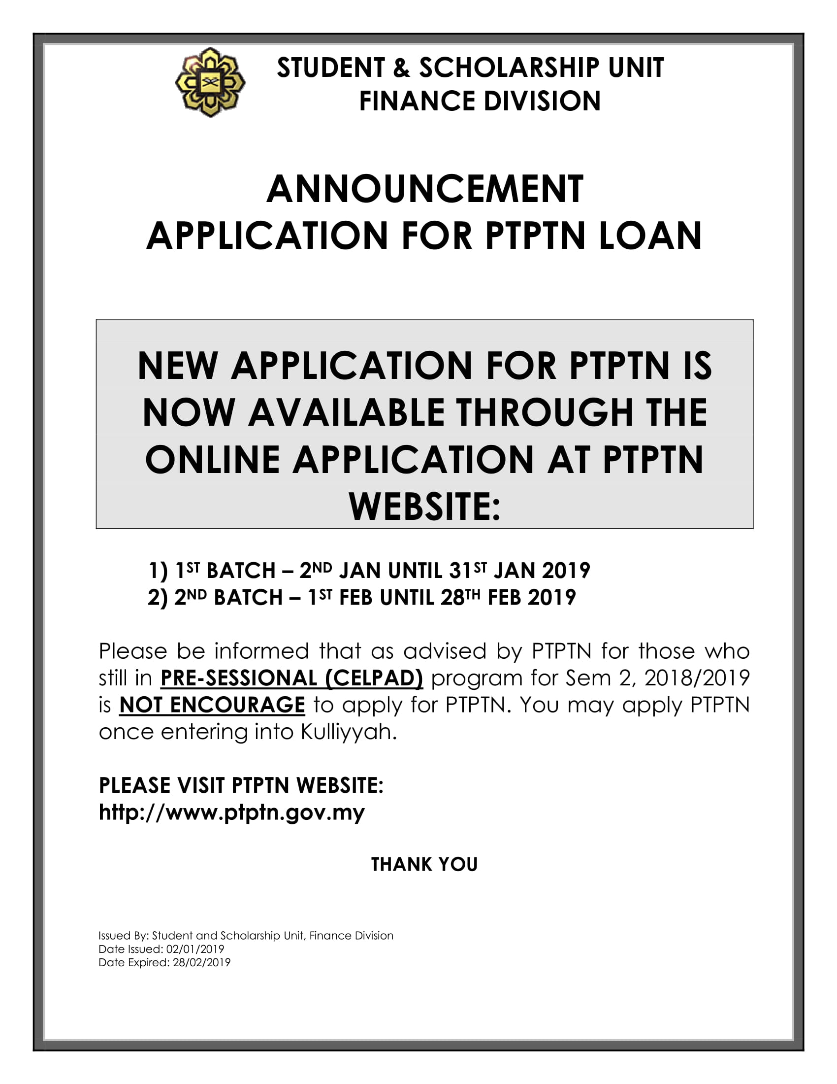 PTPTN APPLICATION JAN & FEB-1