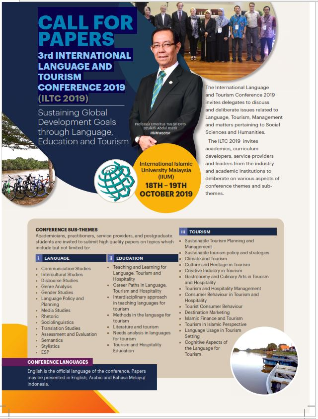 Call for papers 3rd International Language and Tourism Conference