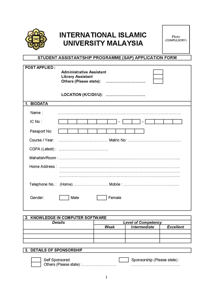 Application for Student Assistance Program