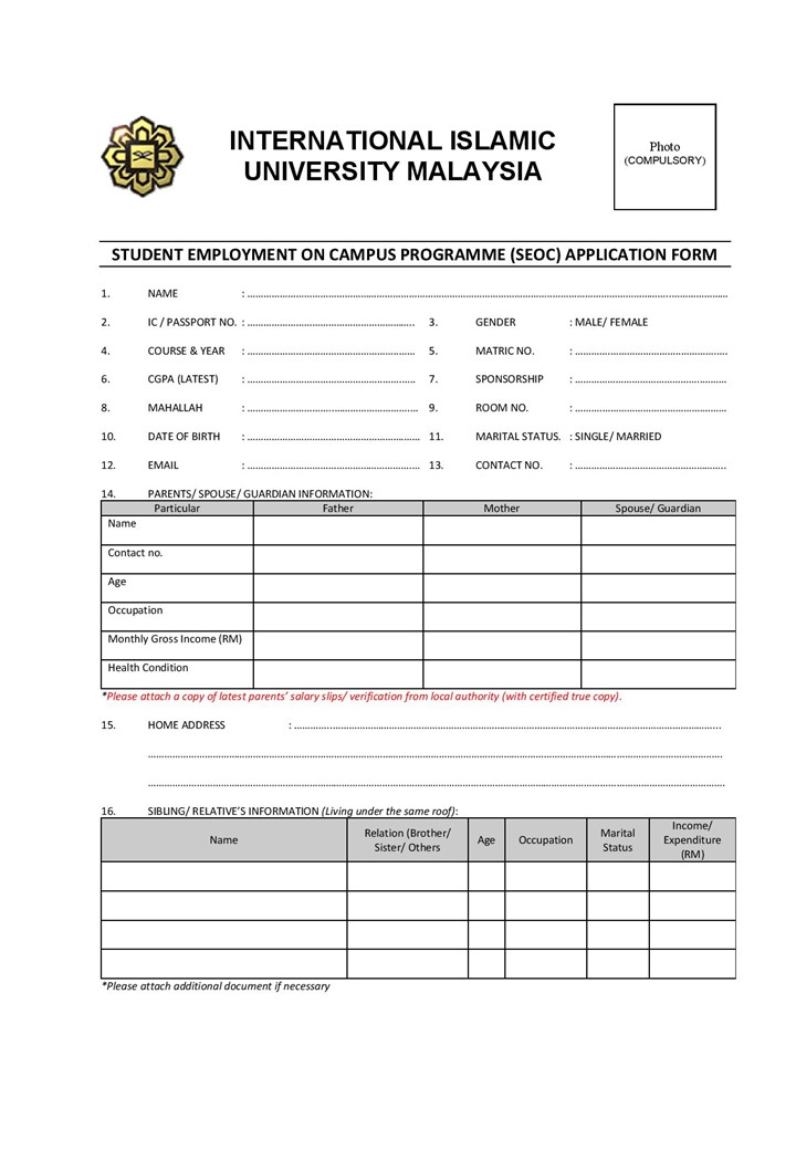 Application for Student Employment on Campus
