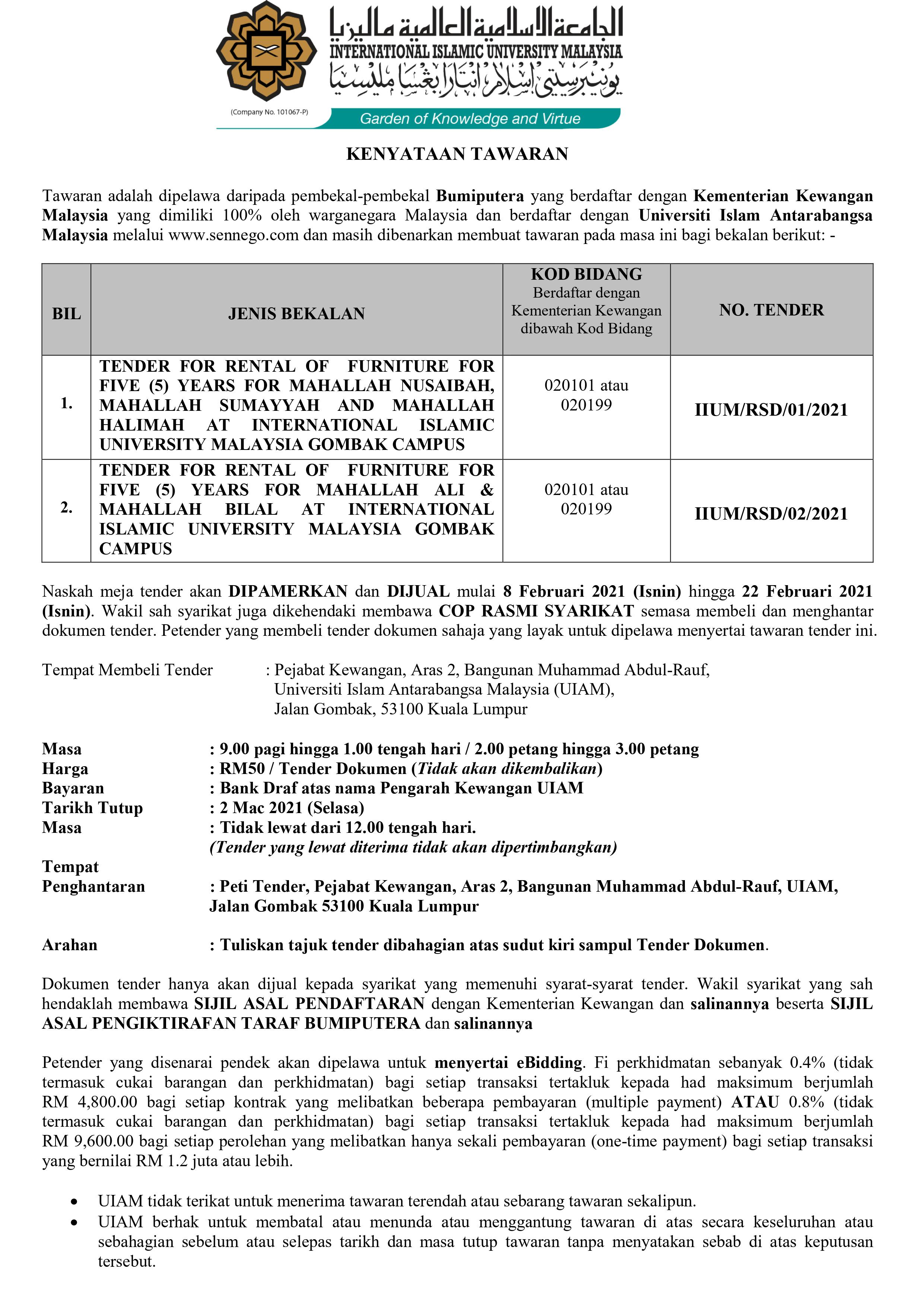 Kindly advertise the above tender starting from today 5/2/2021 until 2/3/2021