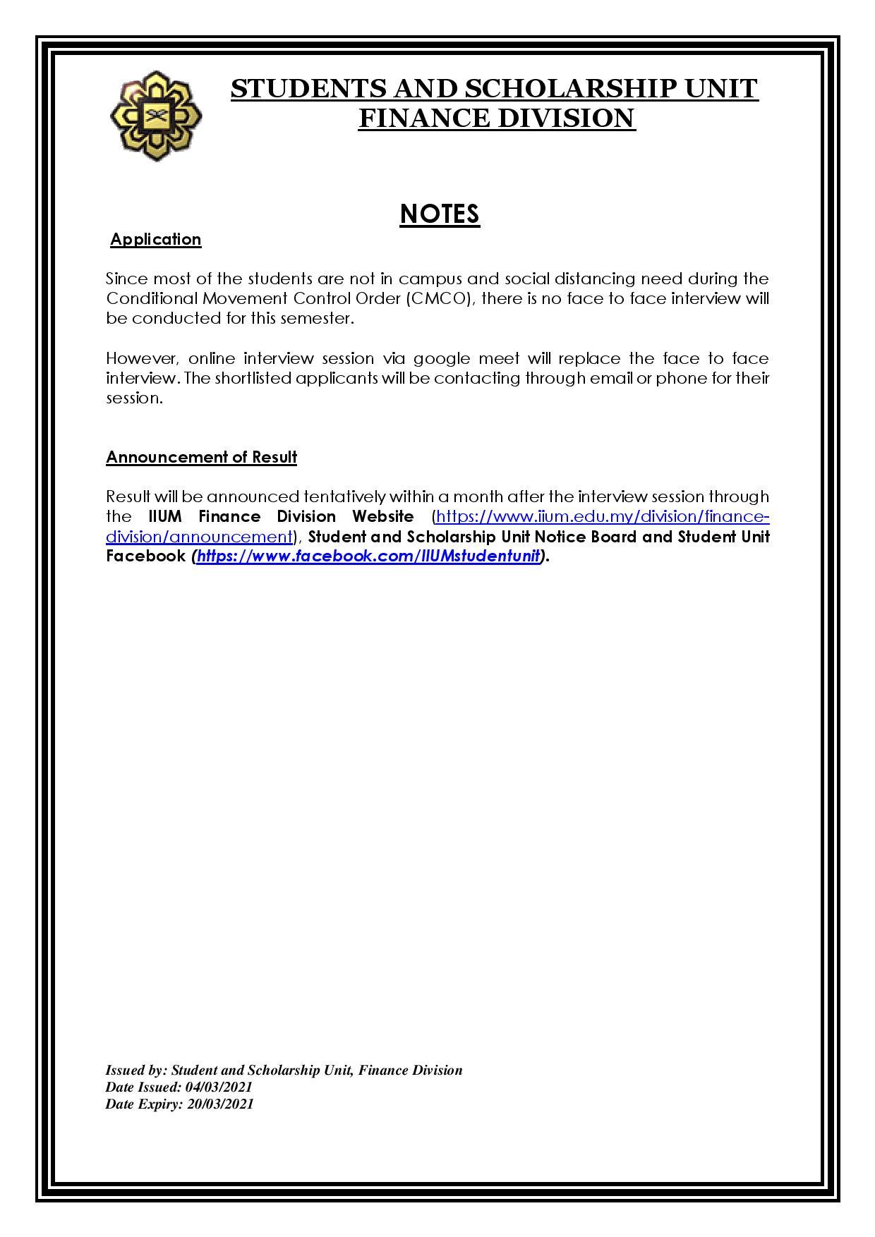 IIUM FINANCIAL ASSISTANCE SEMESTER 2,2020/2021 (KUANTAN)