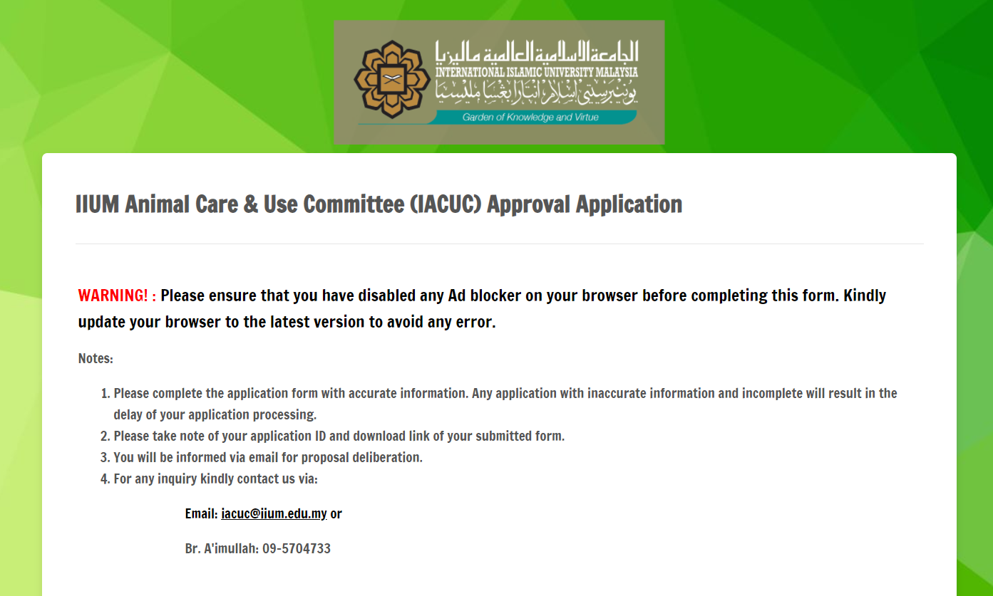 IACUC APPROVAL APPLICATION