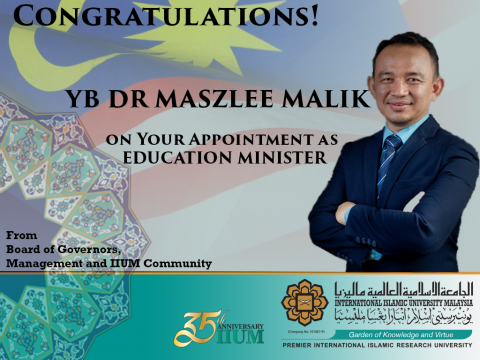 Congratulations to YB Dr. Maszlee Malik: Malaysia New Education Minister