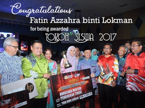 "Congratulations to Fatin Azzahra Lokman, ""Tokoh Siswa 2016"""