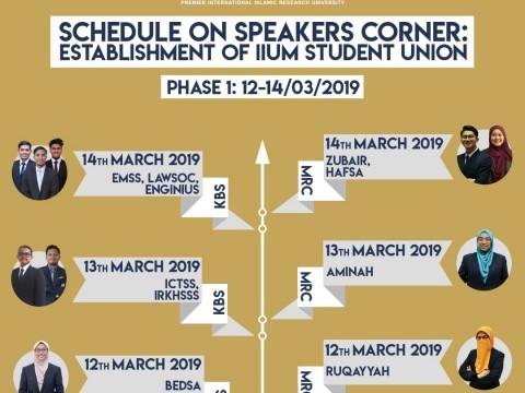 SCHEDULE ON SPEAKERS CORNER : ESTABLISHMENT OF IIUM STUDENT UNION