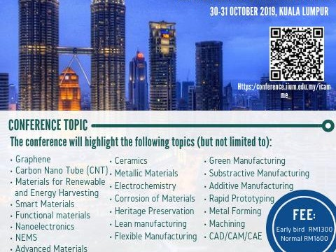 CALL FOR PAPER: 4th International Conference on Advances in Manufacturing and Materials Engineering 2019 (ICAMME'19)
